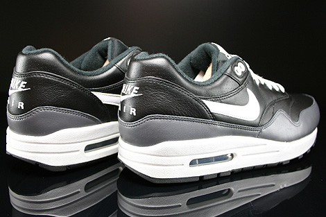 Nike Air Max 1 Leather Black White Dark Grey Back view