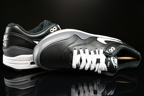 Nike Air Max 1 Leather Black White Dark Grey Over view