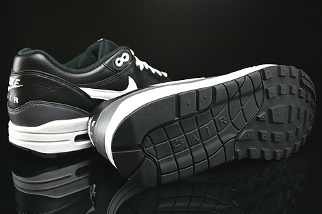 Nike Air Max 1 Leather Black White Dark Grey Outsole