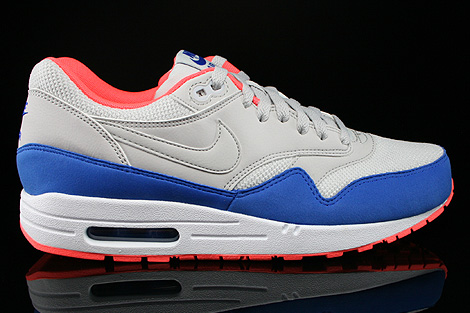 Nike Air Max 1 Essential Hellgrau Blau Orange Weiss Rechts