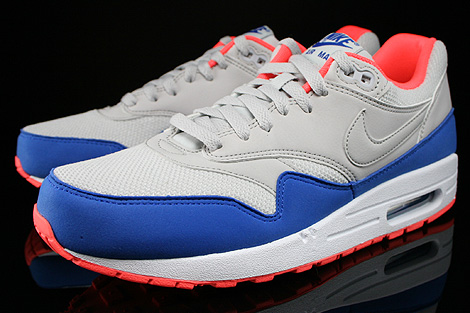 Nike Air Max 1 Essential Hellgrau Blau Orange Weiss Seitendetail