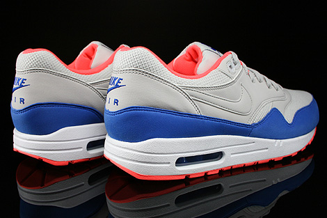 Nike Air Max 1 Essential Hellgrau Blau Orange Weiss Rueckansicht