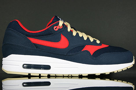 Nike Air Max 1 Obsidian Sport Red Gold White 308866 402