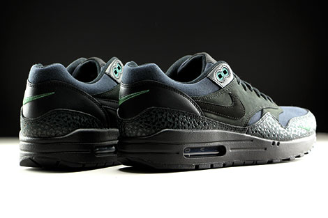 Nike Air Max 1 Premium Black Black Bonsai Back view