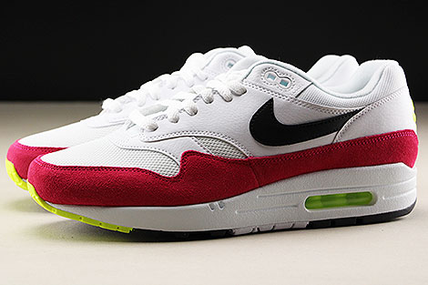 Nike Air Max 1 White Black Volt Rush Pink Profile