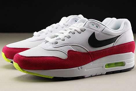 Nike Air Max 1 White Black Volt Rush Pink Sidedetails