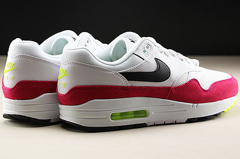 Nike Air Max 1 White Black Volt Rush Pink Back view