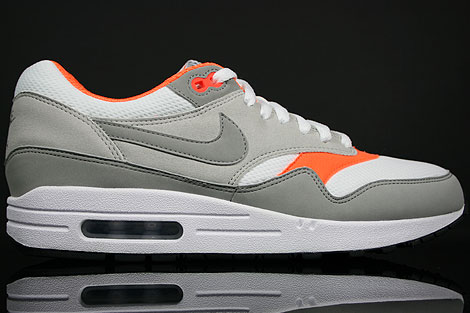 Nike Air Max 1 White Medium Grey Grey Total Orange