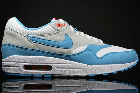 8a54ce94f8c4 Nike Air Max 1 White Scuba Blue Grey Orange 308866-143 - Purchaze
