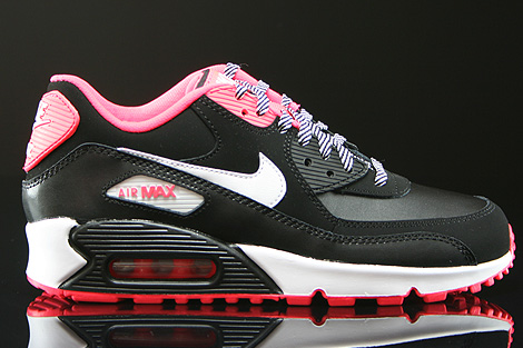 Nike Air Max 90 2007 GS Black White Hyper Punch 345017 064