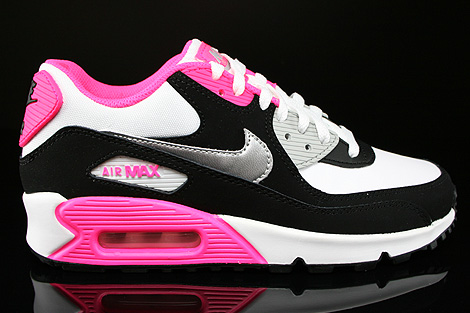 roshe nike running chaussures - Nike Air Max 90 2007 GS White Metallic Silver Black Hyper Pink ...