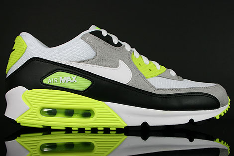 newest 0d9ae f5c84 Nike Air Max 90 Black White Medium Grey Volt 325018-048 - Purchaze