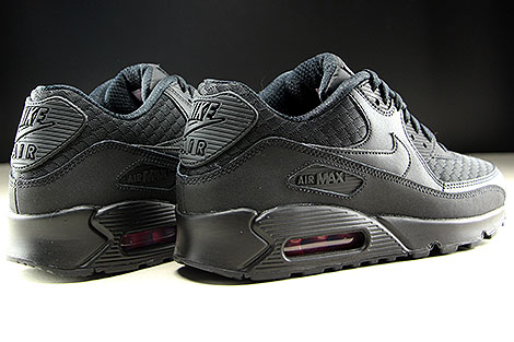 Nike Air Max 90 Essential Black Metallic Silver Back view