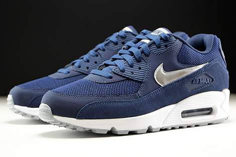 Nike Air Max 90 Essential Midnight Navy Metallic Silver White Sidedetails