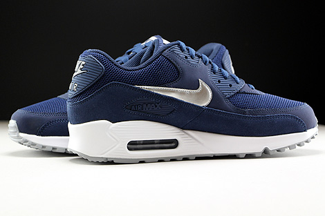 wholesale dealer 9da8a ee165 ... Nike Air Max 90 Essential Midnight Navy Metallic Silver White Inside ...