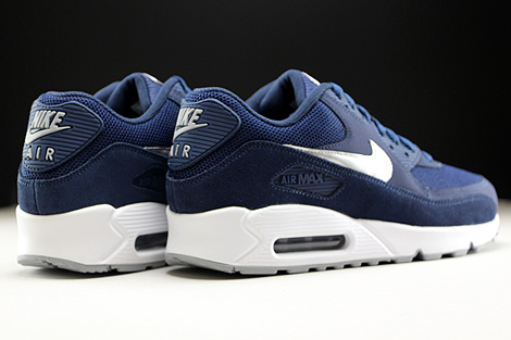 Nike Air Max 90 Essential Midnight Navy Metallic Silver White Back view