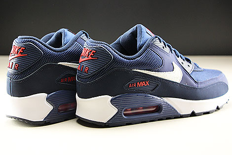 Nike Air Max 90 Essential Midnight Navy White University Red Back view
