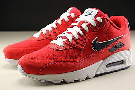 Nike Air Max 90 Essential University Red White Blackened Blue Sidedetails