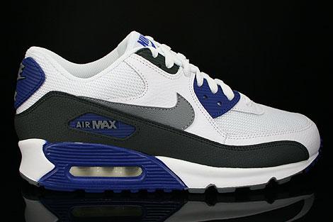 Nike Air Max 90 Essential Weiss Dunkelgrau Blau Schwarz