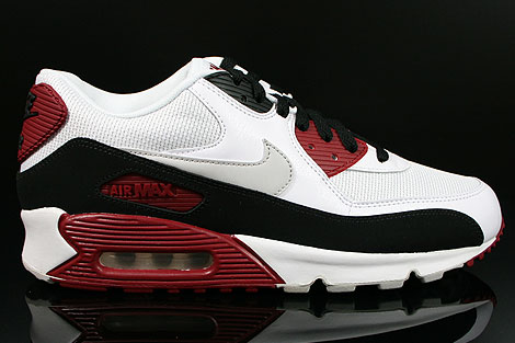 Nike Air Max 90 Essential White Neutral Grey Black Team Red