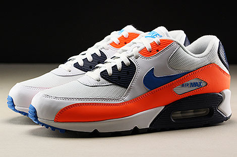 Nike Air Max 90 Essential White Photo Blue Total Orange Seitenansicht