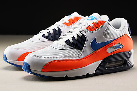 Nike Air Max 90 Essential White Photo Blue Total Orange Seitendetail