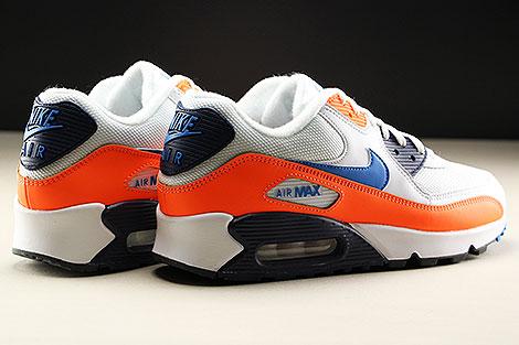 Nike Air Max 90 Essential White Photo Blue Total Orange Back view