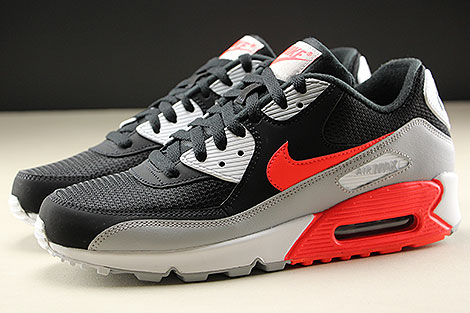 Nike Air Max 90 Essential Wolf Grey Bright Crimson Black White Profile