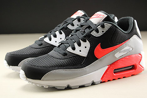 Nike Air Max 90 Essential Wolf Grey Bright Crimson Black White Sidedetails