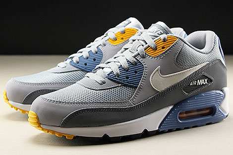 ... Nike Air Max 90 Essential Wolf Grey White Indigo Storm Sidedetails ... 41a29b5bad46e