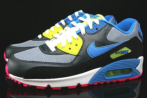 Nike Air Max 90 GS Dunkelgrau Schwarz Blau Neongelb Seitenansicht