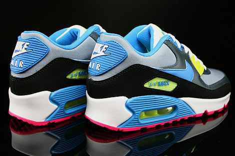 Nike Air Max 90 GS Dunkelgrau Schwarz Blau Neongelb Rueckansicht
