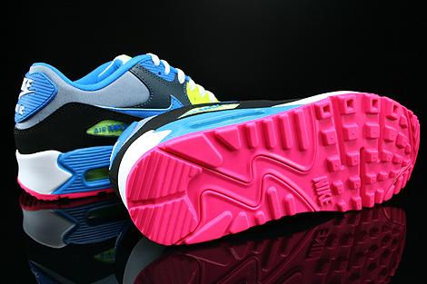 Nike Air Max 90 GS Dunkelgrau Schwarz Blau Neongelb Laufsohle