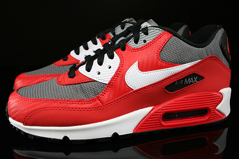 Nike Air Max 90 GS University Red White Metallic Cool Grey Black Profile
