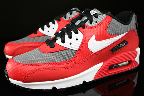 Nike Air Max 90 GS University Red White Metallic Cool Grey Black Sidedetails