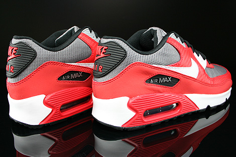 Nike Air Max 90 GS University Red White Metallic Cool Grey Black Back view