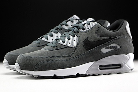 Nike Air Max 90 Leather Anthracite Black Wolf Grey White Profile