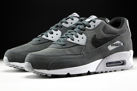 Nike Air Max 90 Leather Anthracite Black Wolf Grey White Sidedetails