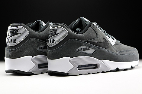 Nike Air Max 90 Leather Anthracite Black Wolf Grey White Back view