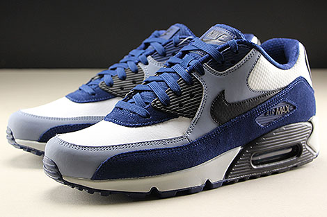 Nike Air Max 90 Leather Blue Void Black Ashen Slate Sidedetails