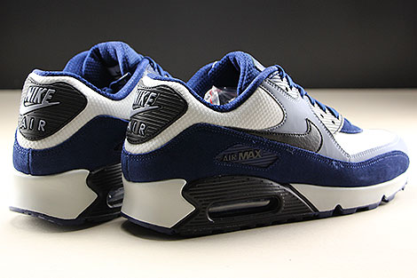 Nike Air Max 90 Leather Blue Void Black Ashen Slate Back view