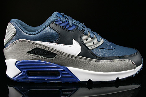 Nike Air Max 90 Leather Dunkelblau Weiss Grau Blau