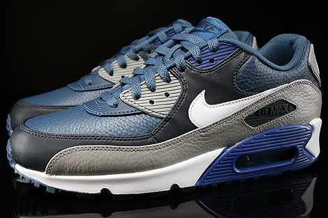 Nike Air Max 90 Leather New Slate White Medium Grey Gym Blue Profile