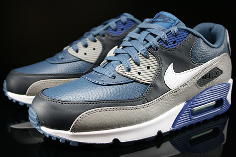 Nike Air Max 90 Leather New Slate White Medium Grey Gym Blue Sidedetails