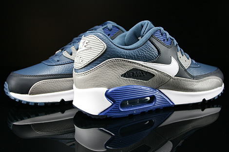 Nike Air Max 90 Leather New Slate White Medium Grey Gym Blue Inside