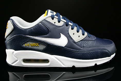 Nike Air Max 90 Leather Obsidian White Wolf Grey Gold Loden