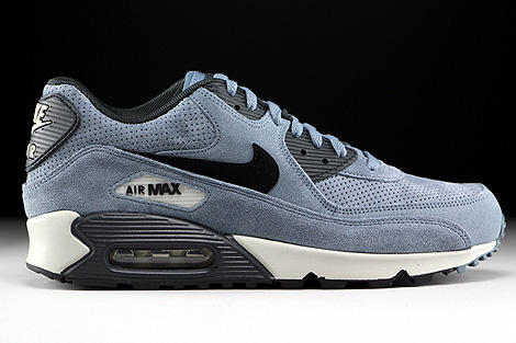 Nike Air Max 90 Leather Premium Blaugrau Schwarz Anthrazit Rechts
