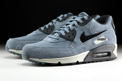 reputable site e13d6 a7000 ... Nike Air Max 90 Leather Premium Blaugrau Schwarz Anthrazit Seitendetail  ...