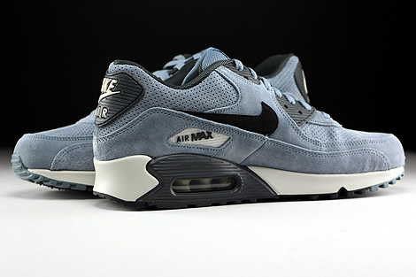 Nike Air Max 90 Leather Premium Blaugrau Schwarz Anthrazit Innenseite