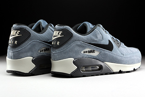Nike Air Max 90 Leather Premium Blaugrau Schwarz Anthrazit Rueckansicht